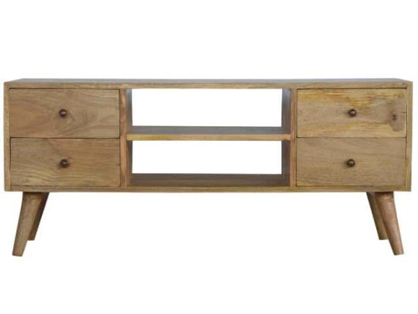 Solid Wood 4 Drawer Nordic Media Unit