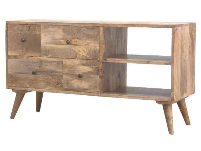 Solid Wood TV Stand with 4 Drawers