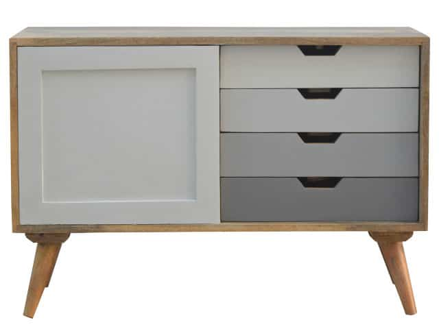 Nordic Hand-Painted Cabinet with 4 Drawers and Sliding Door Cabinet
