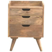 Solid Wood 3 Cut Out Drawers Nordic Bedside Table