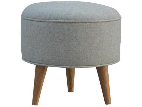 Round Grey Tweed Footstool