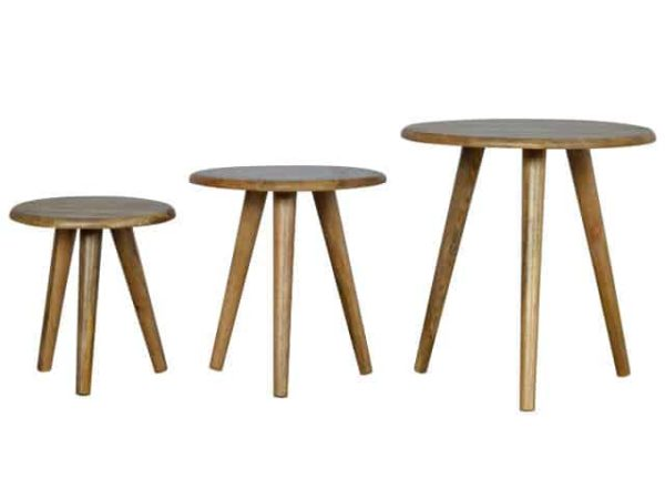 Scandinavian Solid Wood Nesting Tables Set of 3