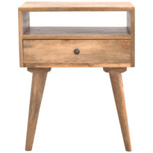 Nordic Solid Wooden Bedside Table with Open Slot and 1 Drawer