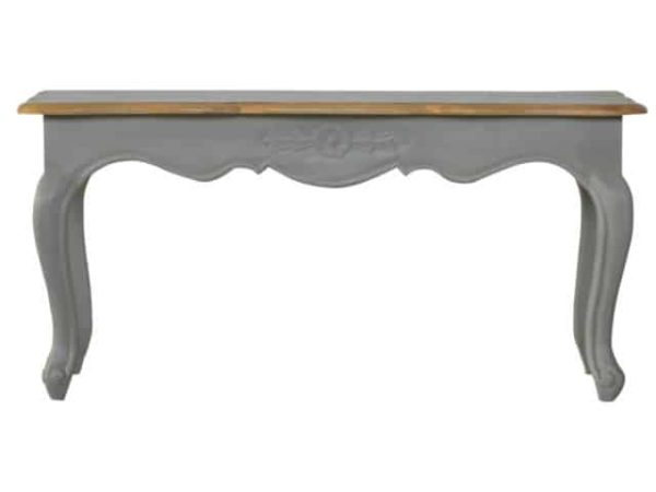 Solid Wood French Style Painted Grey Bench