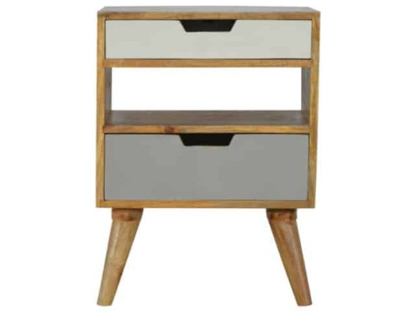 Nordic Style Painted 2 Drawer Bedside Table