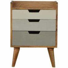 Nordic Style 3 Drawer Painted Bedside Table