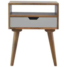 Nordic Style 1 Drawer White Painted Bedside Table