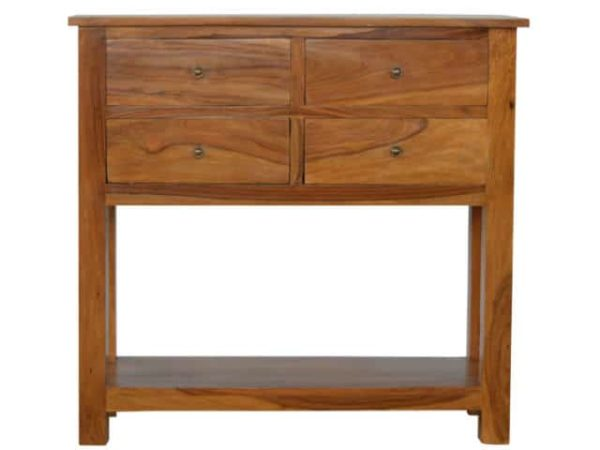 Solid Sheesham Wood Narrow Console Table