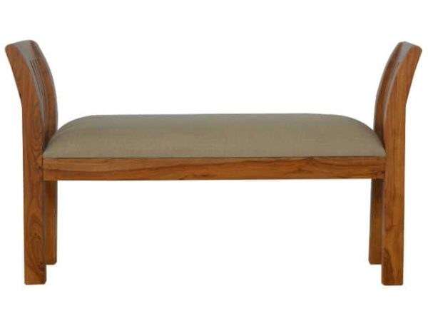 Solid Sheesham Wood Upholstered Bedroom Bench