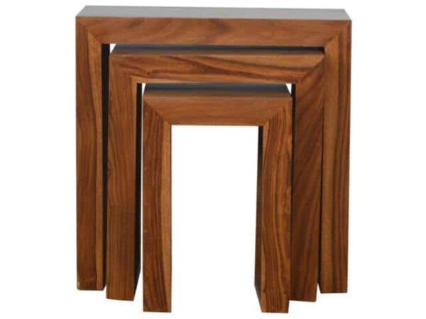 Sheesham Wood Cube Nesting Tables Set of 3