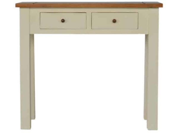 Two Tone Narrow Painted Console Table with 2 Drawers