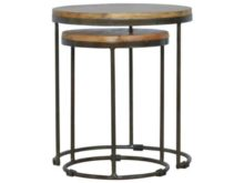 Industrial Style Round Nesting Stools Set of 2
