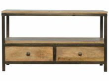 Industrial Style 2 Drawer Solid Wood Iron Base Coffee Table