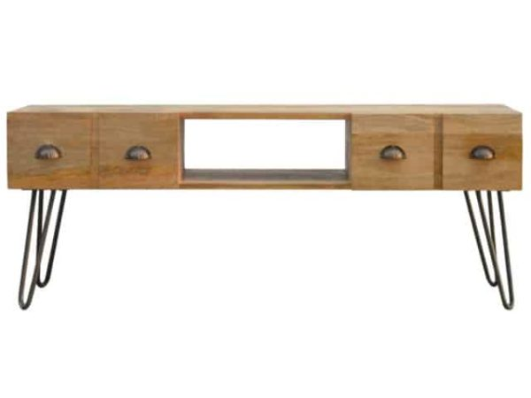 Solid Wood Iron Base Industrial Style TV Media Unit