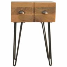 Solid Wood Iron Base Industrial Style 1 Drawer Bedside Table