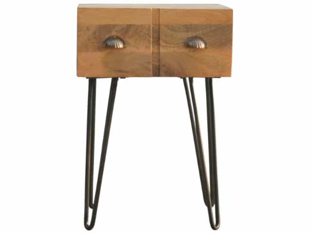 Solid Wood Iron Base Industrial Style 1 Drawer Bedside