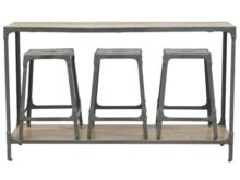 Mixed Wood and Iron Long Hallway Console Table with 3 Nesting Stools