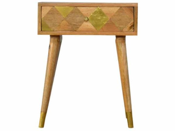Gold Embossed Solid Wood One Drawer Bedside Table