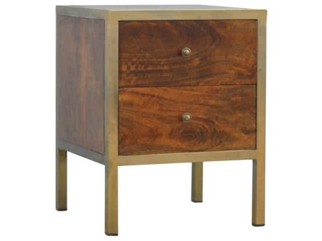 Iron Frame Wooden 2 Drawer Bedside Table