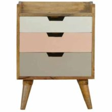 Nordic Style Hand Painted Pink 3 Drawer Bedside Table