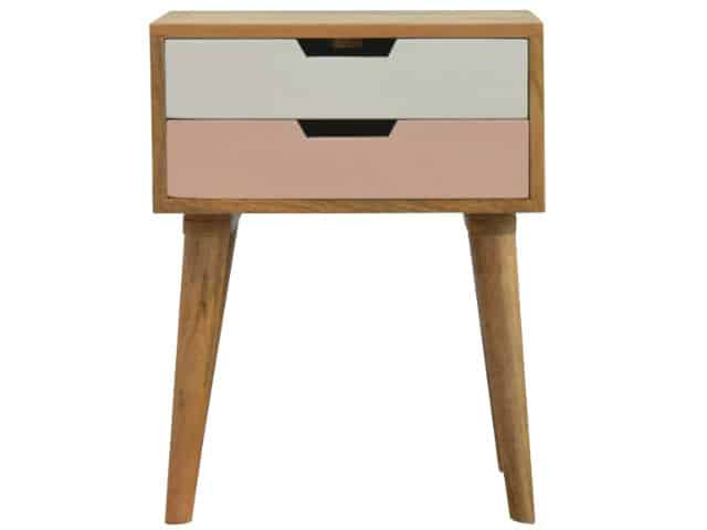 Nordic Style 2 Drawer Bedside Table