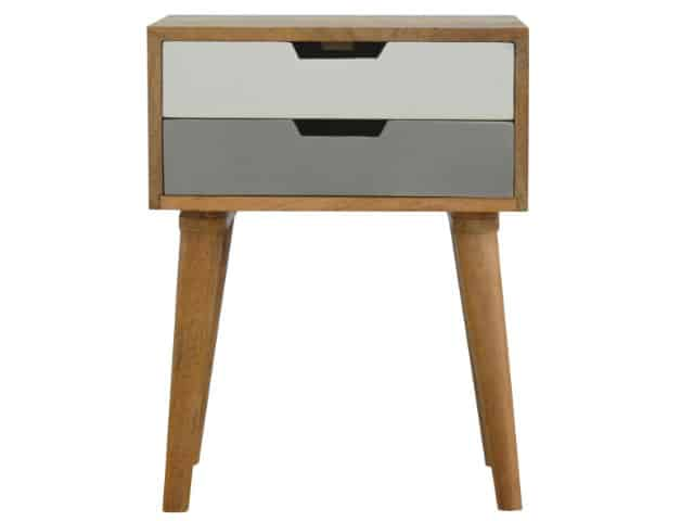 2 Drawer Hand Painted Grey Bedside Table