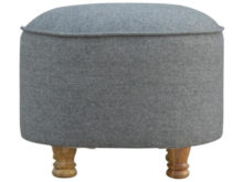 Wooden Bun Feet Grey Tweed Oval Footstool