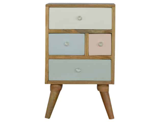 4 Drawer Nordic Style Hand-Painted Bedside Table