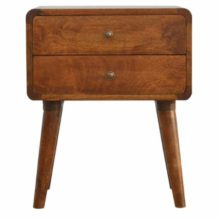 Curved Corner 2 Drawer Bedside Table