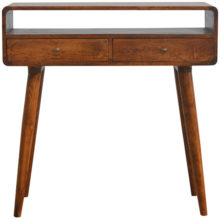 Curved Open Slot Chestnut Console Table