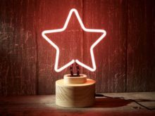 Pink Neon Star Table Lamp