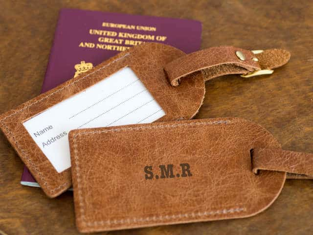 Tan Initial Personalised Leather Luggage Tags