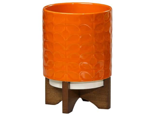 orla kiely ceramic plant pot with wooden stand  60 u0026 39 s stem poppy