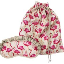 Sara Miller Flamingo Silk Eye Mask And Bag Set