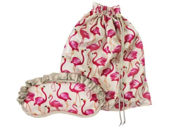 Sara Miller Flamingo Silk Eye Mask And Bag Set