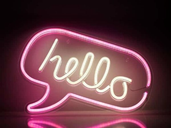 Lumosnap Pink and White Speech Bubble Hello Neon Wall Sign