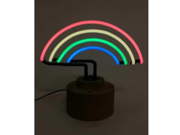 Rainbow Neon Light Touch Table Lamp With Cork Base 24cm High