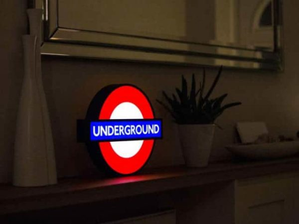 London Underground Lightbox Sign with 10 Interchangeable Tube Stations