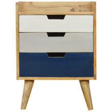 3 Drawer Hand-Painted Navy Gradient Bedside Table