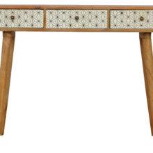 3 Drawer Screen-Printed Geometric Design Writing Desk