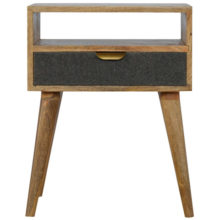 Grey Tweed Bedside Table with Open Slot