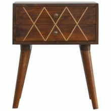 Wired Brass Inlay Wooden 2 Drawer Bedside Table