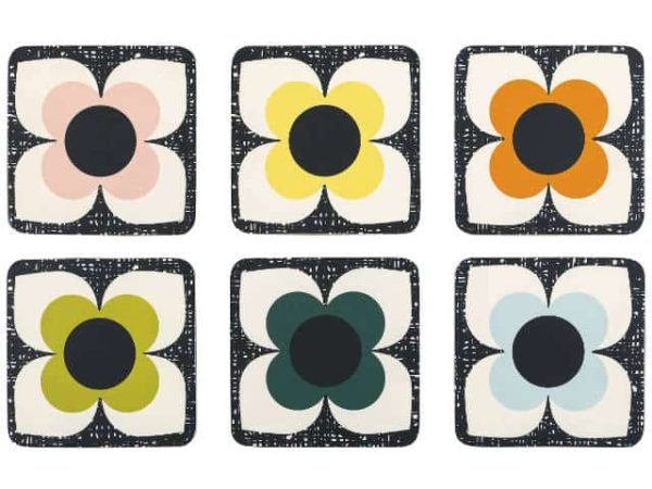 Orla Kiely Scribble Square Flower Coasters Set of 6