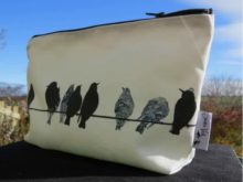 Sandra Vick Starlings on a Wire Makeup Bag Sunny