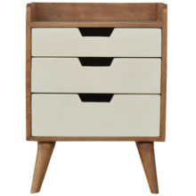 3 Drawer White Painted Bedside Table