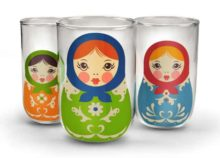 Fred Babushkups Nesting Matryoshka Glasses Trio