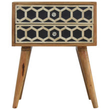 Bone Inlay Bedside Table with 2 Drawers
