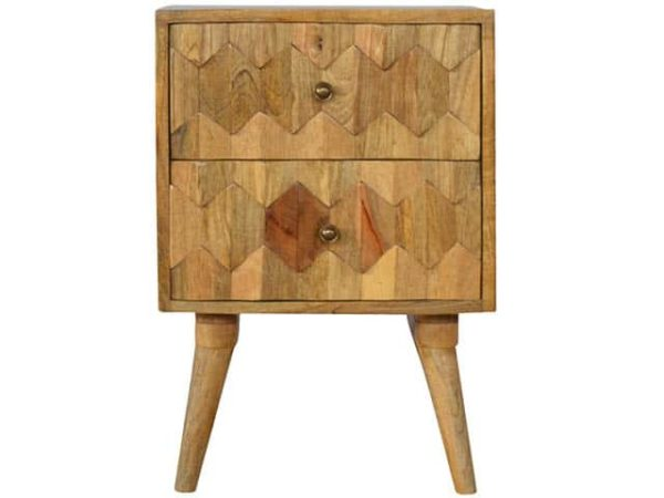 Pineapple Carving Solid Wood Bedside Table