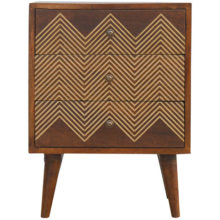 Brass Inlay Chevron Wood Bedside Table with 3 Drawers