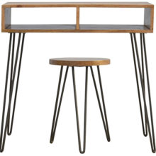 Solid Wood Iron Writing Desk with Stool